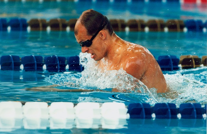 Australian S12 swimmer Kingsley Bugarin swims breaststroke at the 1996 Atlanta Paralympic Games