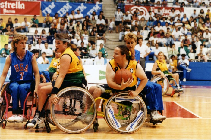 Australian women's wheelchair team in action at the Barcelona 1992 Paralympic Games